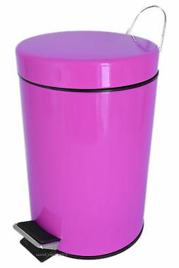 0.8G/3L Kitchen/Bathroom Pink Power Coated Steel Trash Can S