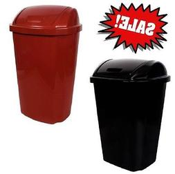 Hefty 13.5 Gallon Swing Lid Trash Can Red Black Garbage Bask