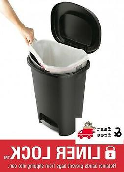 13 Gal Step On Plastic Trash Can Rubbermaid Kitchen Waste Ba