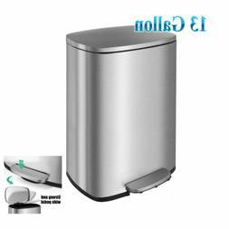 13 Gallon/50 L Stainless Steel Rectangular Garbage Bin Offic
