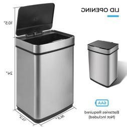 13 Gallon Motion Sensor Trash Can Touchless Stainless Steel