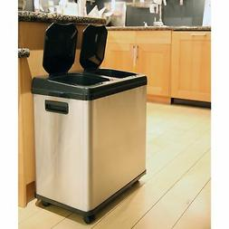 iTouchless 16 Gallon Stainless Steel Dual Recycle Can Sensor