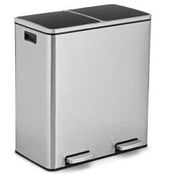 16 Gallon Stainless Steel Trash Garbage Can Double Bucket Pe