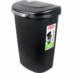 Rubbermaid Touch-Top Wastebasket, 13-Gallon, Metal-Accent Bl