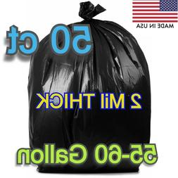 2 Mil 50 Large 60 Gallon Commercial Trash Can Bags Heavy Gar