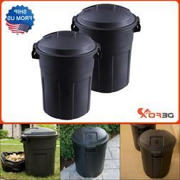 2 Pack Rubbermaid 20 Gal. Black Round Trash Can w Lid Garbag