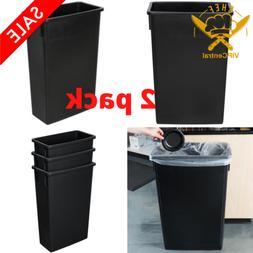 Skinny Trash Can Plastic Black Slim Kitchen Garbage Can Lin