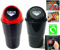 2 PCS Car Hero Holder Trash Can with Garbage Bin with Spring