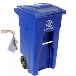 Toter 32 Gallon 2-Wheel Recycling Cart with microfiber towel