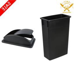 23 Gallon Black Slim Trash Can Kitchen Garbage Waste Wasteba