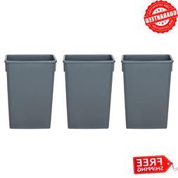 Heavy-Duty 23 Gallon Gray Slim Restaurant Kitchen Trash Bin