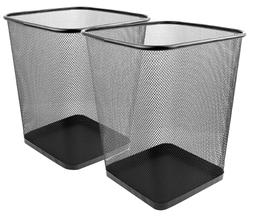 Greenco 2x Mesh Wastebasket Trash Can Square Black Garbage R