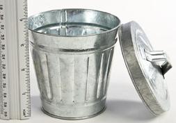 "3-3/4"" Miniature Galvanized Metal Trash / Garbage Cans Set o"