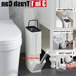 3 in 1 Bathroom Trash Can Garbage Bin with Toilet Brush Toil