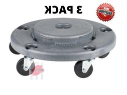 3 PACK Commercial Gray Plastic Trash Garbage Can Bin Mobile