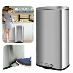30L Stainless Steel Step-on Trash Can Kitchen Garbage Can w/