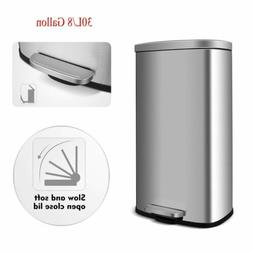 30L Stainless Steel Step-on Trash Can Garbage Bin w/ Lid Was
