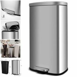 30L Stainless-Steel Trash Can Rectangular Garbage Bin with L