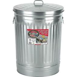 31 Gal Galvanized Steel Round Trash Can w/ Lid Garbage Weath