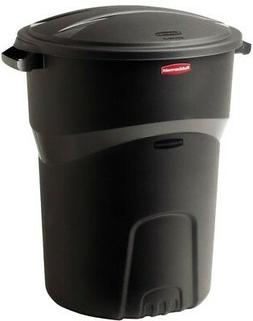 Trash Can 32 Gallon Black Round With Lid Outdoor Plastic Gar