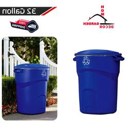 32 Gallon Outdoor Recycling Bin Round Trash Can Lid Handles