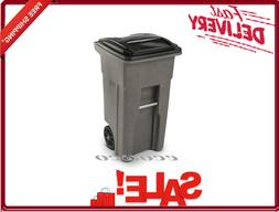 32 Gallon Trash Can With Wheels and Attached Lid Graystone F