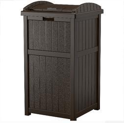 Suncast 33 Gallon Waste Garbage Hideaway Can Outdoor Patio R