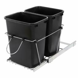 35-Qt Pull Out Trash Garbage Can Waste Container Bin Shelf D