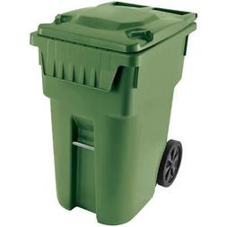 """360L Green American Grip Curbside Garbage Can, with 12"""" Whee"""