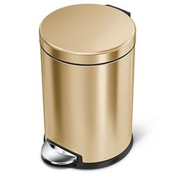 simplehuman 4.5 litre round step trash can, brass stainless