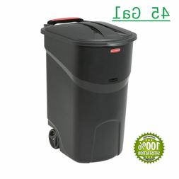 45 Gal Large Rolling Outdoor Trash Can Wheel Waste Garbage B