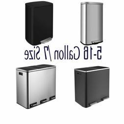 5-16 Gal Trash Can Stainless Steel Garbage Bin Soft Step Dus