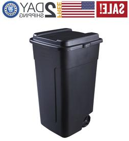 Rubbermaid 50 Gallon Trash Can with Lid Wheel Outdoor Garbag