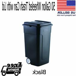 50 Gallon Wheeled Industrial Strength Black Square Shape Tra