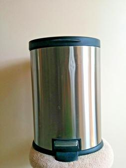6 Liter Metal Trash Garbage Step Can Wastebasket Bin Contain