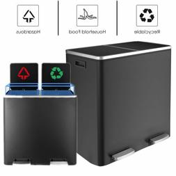 60L Black Dual Trash Can Garbage Can Metal Step Bin with Dua