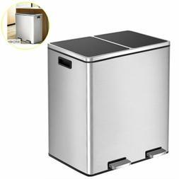 60L Dual Trash Can Garbage Can 16 Gal Metal Step Bin with Du