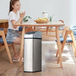 Stainless Steel Trash Can Touch Free Motion Sensor Touchless