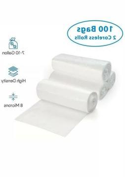 7-10 Gallon Clear Trash Bags, 100 Count - Small - Medium Gar