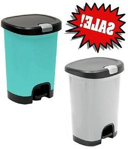 Hefty 7-Gal Textured Step-On Trash Can with Lid Lock Garbage