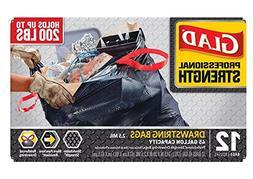 Glad 78897 Professional Strength Drawstring Trash Bag, 45 Ga
