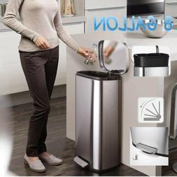 8 Gallon Stainless-Steel Trash Can Rectangular Garbage Bin w