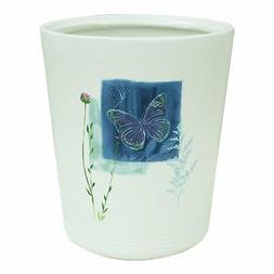 Bacova Guild 89399 Indigo Wildflower Wastebasket Garbage Can