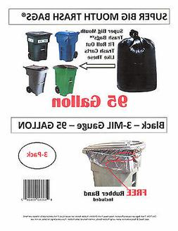 95 Gallon Super Big Mouth Trash Bags 3-Pack Plus 1 Free Rubb