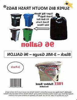 96 Gallon Super Big Mouth Trash Bags 3-Pack Plus 1 Free Rubb