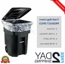 96 GALLON Trash Bag Liner Garbage 25 Count For WHEELED TRASH