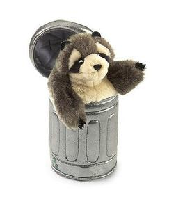 Folkmanis Raccoon In Garbage Can Hand Puppet
