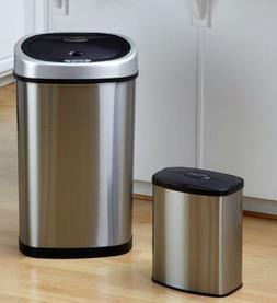 K&A Company Set of 2 - Touchless Trash Stainless Steel Can S