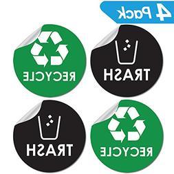"Recycle Sticker Trash Bin Label - 4"" x 4"" - Organize & Coord"