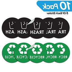 "Recycle Trash Bin Logo Sticker - 4"" x 4"" - Organize & Coordi"
